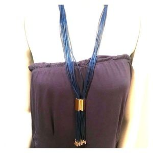H&M mixed media navy necklace NWT adjustable